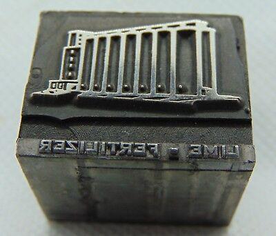 Vintage Printing Letterpress Printers Block Lime Fertilizer Building