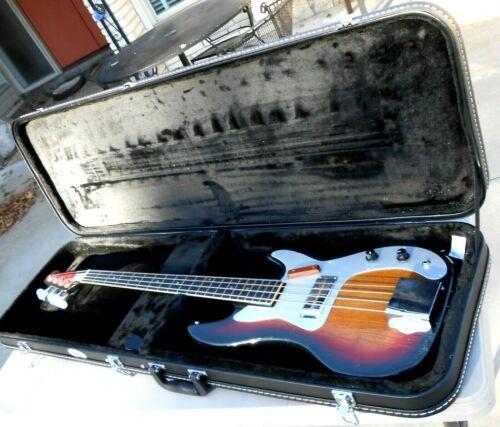 Teisco Kent EB-1 Earliest Japan Made Bass Guitar Very Good + New Hardshell Case
