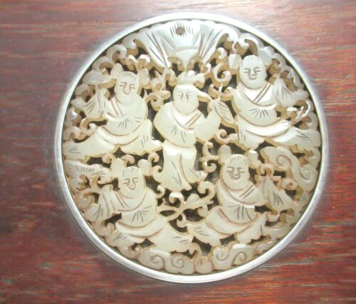 CHINESE MEN CARVED WHITE JADE MEDALLION EBONY WOOD TRINKET JAR BOX