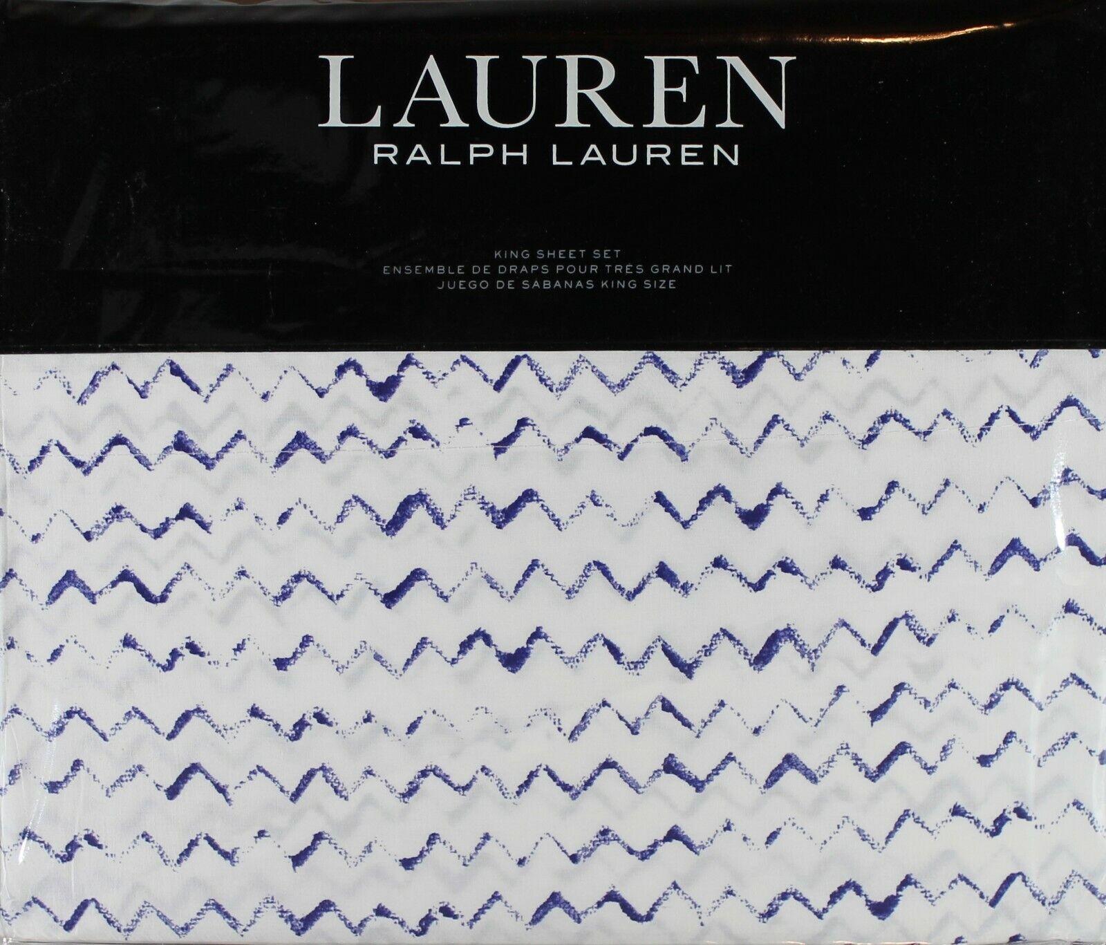 RALPH LAUREN Nora Blue & White Zig Zag 4PC KING SHEET SET NE