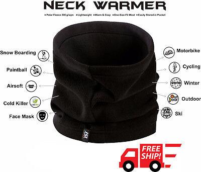 Neck Warmer Fleece Face Mask Snowboard Hat Scarf Unisex Cold Weather Black 3 In1