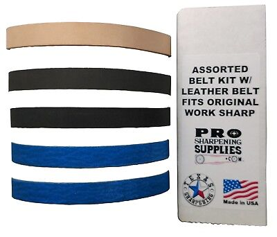 Assorted 1/2  X 12 Belt Kit with Leather Honing Belt fits Original Work Sharp