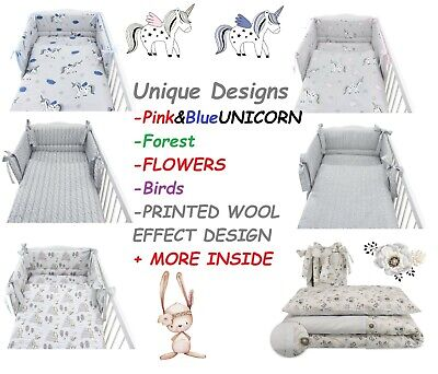 UNIQUE DESIGNS Baby Bedding Set fit Cot 120x60cm - Cot Bed 140x70 -BABY GIRL (Designer Baby Bedding Sets)