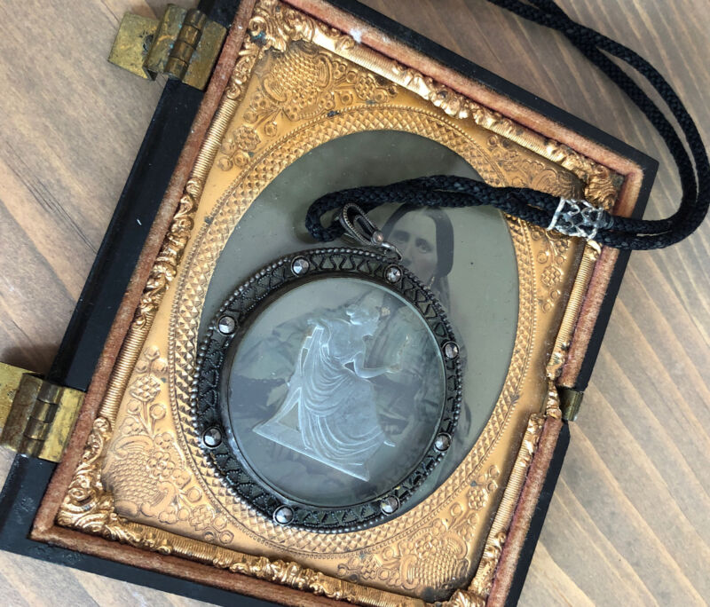 Antique Sterling Lariat Victorian Reverse Carved Glass Cameo Darling