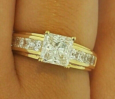 2.67 cts Princess Cut Solitaire Diamond Ring Engagement Solid 14k Yellow Gold Solitaire Square Ring