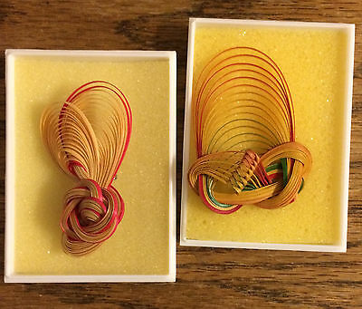 "2 Different Handmade Love Knot Bamboo Fashion Pins Brooches. 2-1/4"" Long"