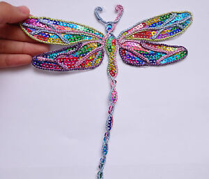 3 large dragonfly patches sequin applique iron on hotfix sew on damselfly UK