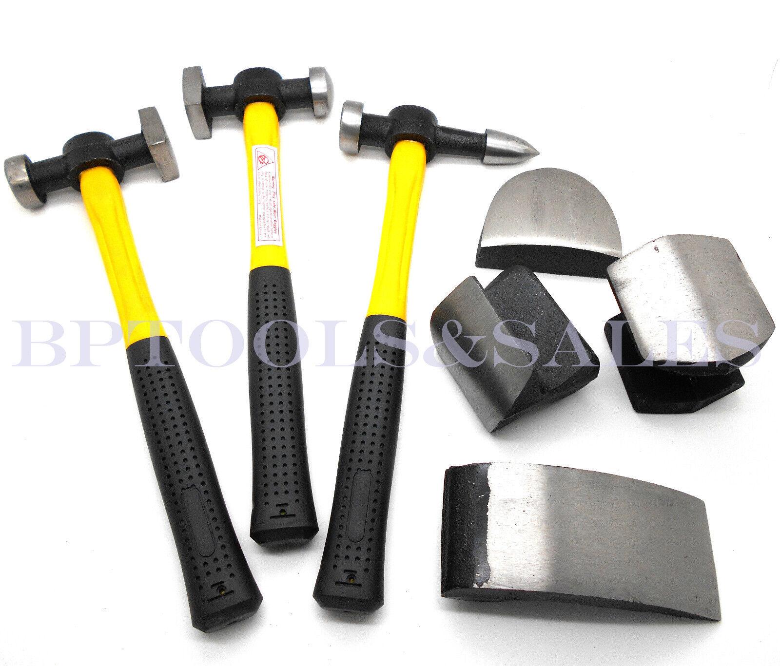 7 Pc Auto Body Fiberglass Fender Repair Tool Hammer Dolly Dent Bender Auto Kit