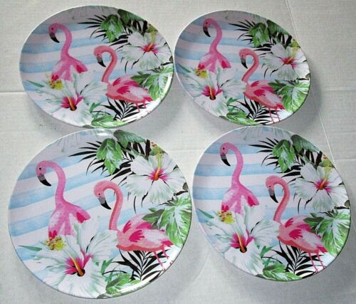 "TROPICAL  DINNER PLATES  Melamine Ware 11"" Diameter  Set of 4 PINK FLAMINGO"