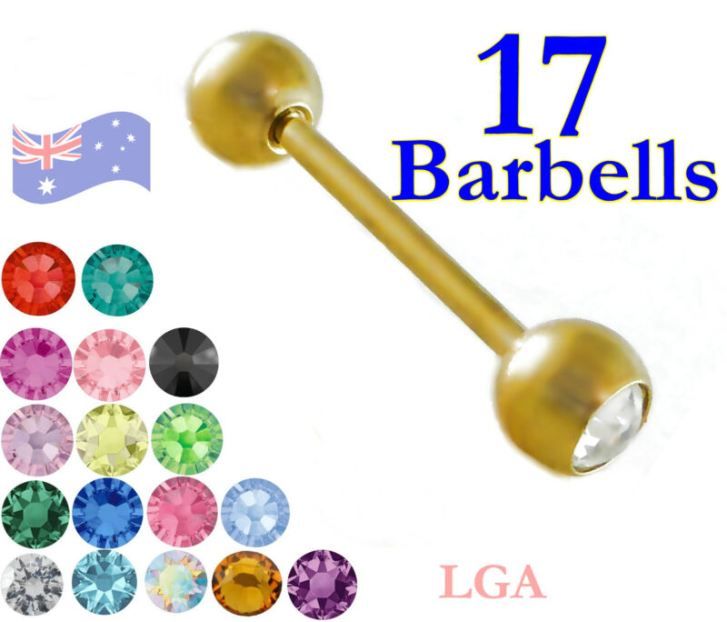17 Gold pl Tongue Nipple Bars Barbells Rings Studs 14g 16mm Barbell Jewel Pack*