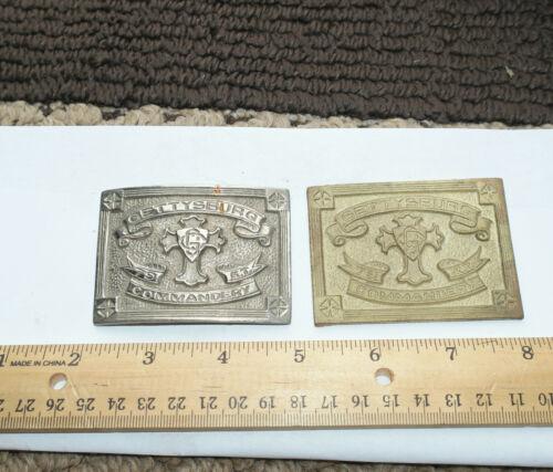 1900s Gettysburg PA  Commandery badge Belt Buckle lot of 2 (1 unfinished)