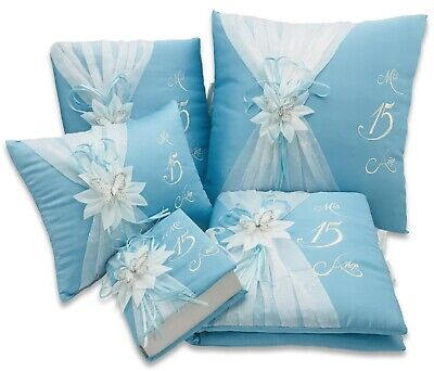 5 pc Aqua and Silver Quinceanera Mis Quince Set Pillows,Guest Book,Bible,PhotoAl