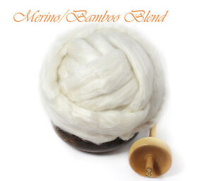 Merino-wool-Bamboo-Blend-Luxury-Fiber-Spinning-Undyed-Ecru-Top-Roving-4oz