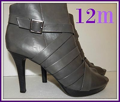Sz 12m Gray peep toe booties, by Fioni , shoes boots