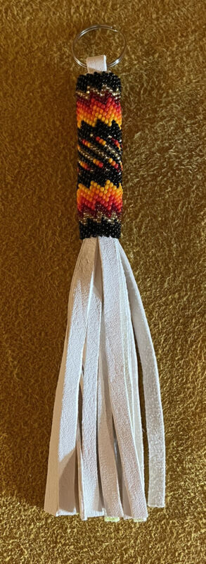 Beautifully Colored New Native American Lakota Sioux Beaded Leather Keychain