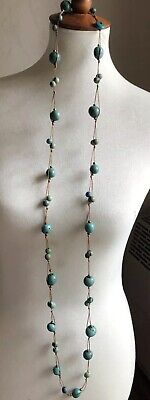 Polished blue green turquoise beads & stones rope necklace - Choker to Full (Polished Turquoise Stones Necklace)