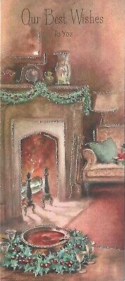 Mid Century GIBSON Christmas Card- Living Room-Cozy Fireplace with Mantle Used ()