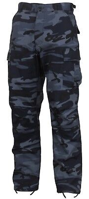 Mens Fatigue Pants - Mens Midnight Blue Camouflage Military BDU Cargo Bottoms Fatigue Trouser Pants