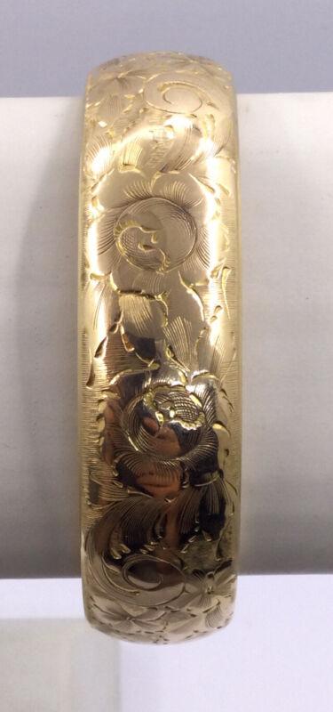 VINTAGE GREAT GOLD FILLED HINGE BANGLE - 18MM WIDE FLORAL ENGRAVINGS (V222)