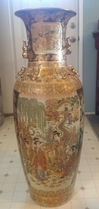 "Estate Find! Royal Satsuma Vase ~ Geisha Girls/Floral ~ Heavy Gold ~ 36"""