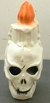 "Vintage Skull Candle Skeleton Halloween Blow Mold 13 1/2"" Vintage Clean"