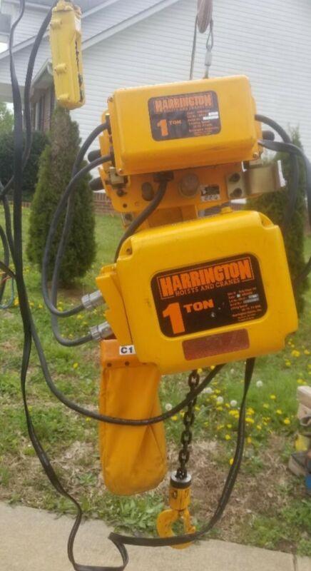 HARRINGTON 1 TON ELECTRIC CHAIN HOIST WITH MOTORIZED TROLLEY