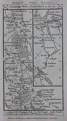 Original antique road map SUSSEX, TUNBRIDGE WELLS, KENT, DOVER, Paterson 1785