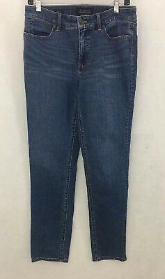 TALBOTS FLAWLESS FIVE POCKET MED WASH STRAIGHT LEG DENIM JEANS - SZ 6
