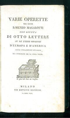 MAGALOTTI LORENZO VARIE OPERETTE OTTO LETTERE EUROPA AMERICA SILVESTRINI 1825