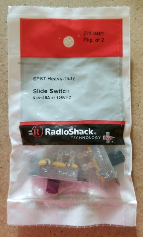 NEW! RadioShack SPST Heavy-Duty Slide Switches 6A @ 125VAC 275-0401 *FREE SHIP*