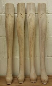 Set Of 4 Unfinished Oak Table Legs Queen Anne Style 26 1/4