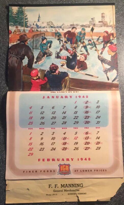 Vintage 1948 IGA Calendar Sporting Scenes Football, Baseball,hockey,baseball Etc