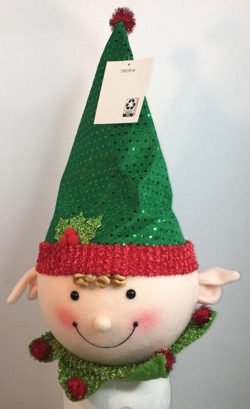 Holiday Time Styrofoam Happy Elf Tree Topper Pointy Hat Rosey Cheeks NEW NWT