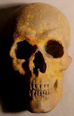 French Human Skull Death Mask Sculpture Medical Catacomb Greek Gothic Masonic