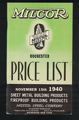 Milcor Building Products Catalog Price List 1940 Fireproof Sheet Metal