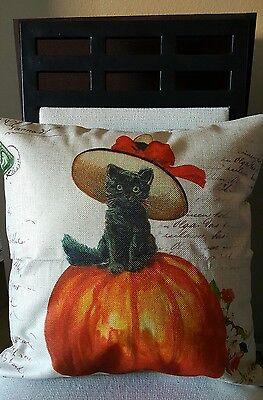 """Autumn Fall Kitten Bonnet on Pumpkin Linen Throw Pillow Cover 18"""" US Seller"""