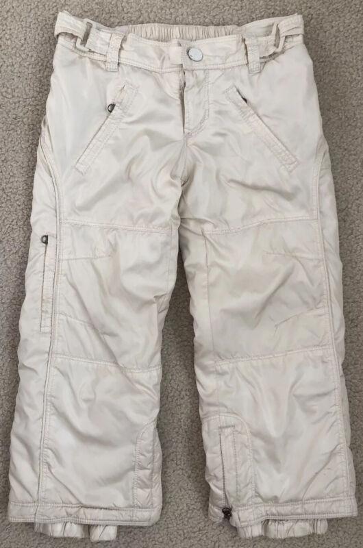BABY GAP size XS (4-5) Girls Ivory/White Fleece Lined Snow/Ski Pants
