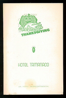 HOTEL TAMANACO INTERCONTINENTAL MENU THANKSGIVING 1957 CARACAS VENEZUELA