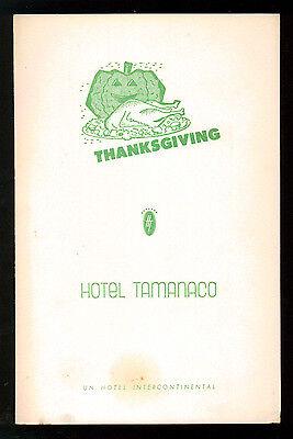 HOTEL TAMANACO INTERCONTINENTAL MENU THANKSGIVING 1957 CARACAS VENEZUELA