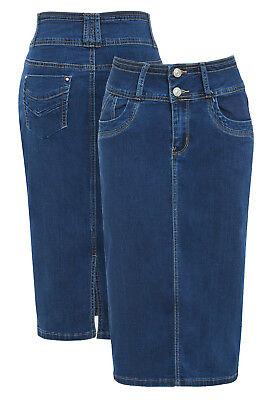 Neue Jeans Bleistiftrock Damen Schlauchrock Stretch blau Größe 8 10 12 14 16 ()