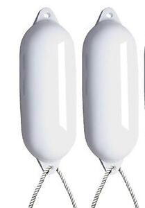 2-X-MAJONI-WHITE-BOAT-FENDERS-DEFLATED-SIZE-5-FREE-ROPE-LARGE