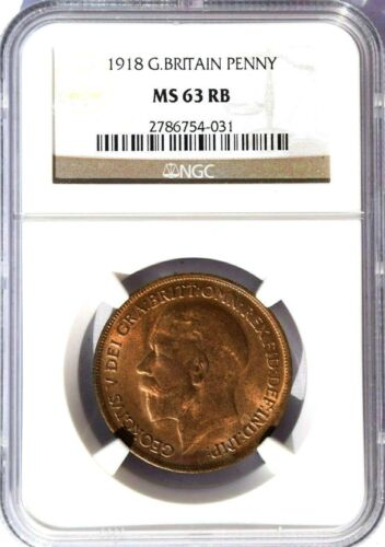 1918 Great Britain 1 Penny, NGC MS 63 RB Red/Brown, KM-810