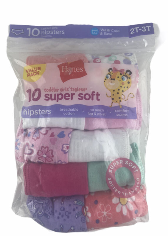 10 Hanes 2T-3T Hipster Toddler Panties 6 Solid, 4 Flowers Or Heart Pattern