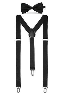 Einfarbige Herren Hosenträger Fliege Set Clip  Y-Form verstellbare Hosenträger