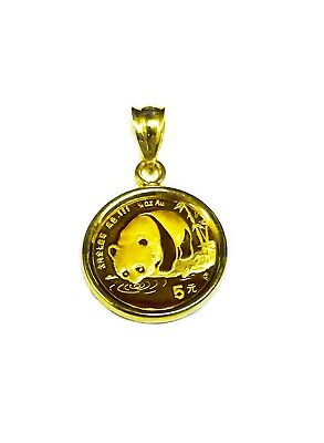 24K GOLD CHINESE PANDA BEAR COIN SET IN 14K SOLID GOLD COIN CHARM PENDANT