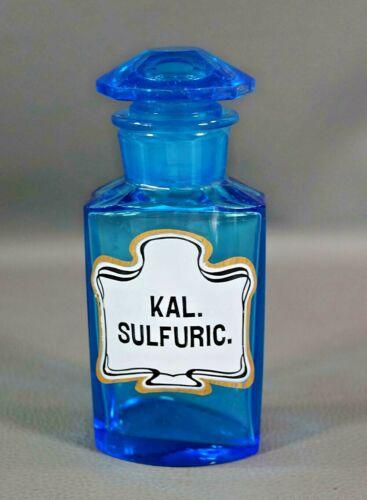 19c.Antique Austrian Medical Apothecary Pharmacy Steinbuch Blue Glass Bottle