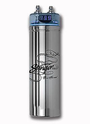Brand New Stinger 1 Farad Capacitor W/ Blue Digital Voltmeter Chrome SPC122 Car
