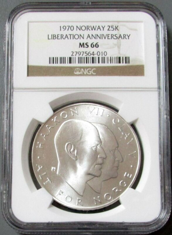 1970 SILVER NORWAY 25 KRONER 25th ANNIVERSARY LIBERATION COIN NGC MINT STATE 66