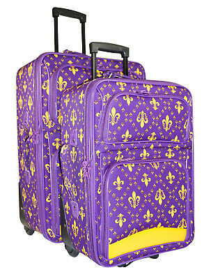 Fleur De Lis Luggage (Fleur de Lis Expandable 2 pc Piece Luggage Set for Travel Soft Sided Check)