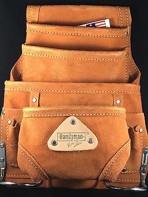 10 pocket carpenter electrician nail & tool bag belt,construction pouch leather